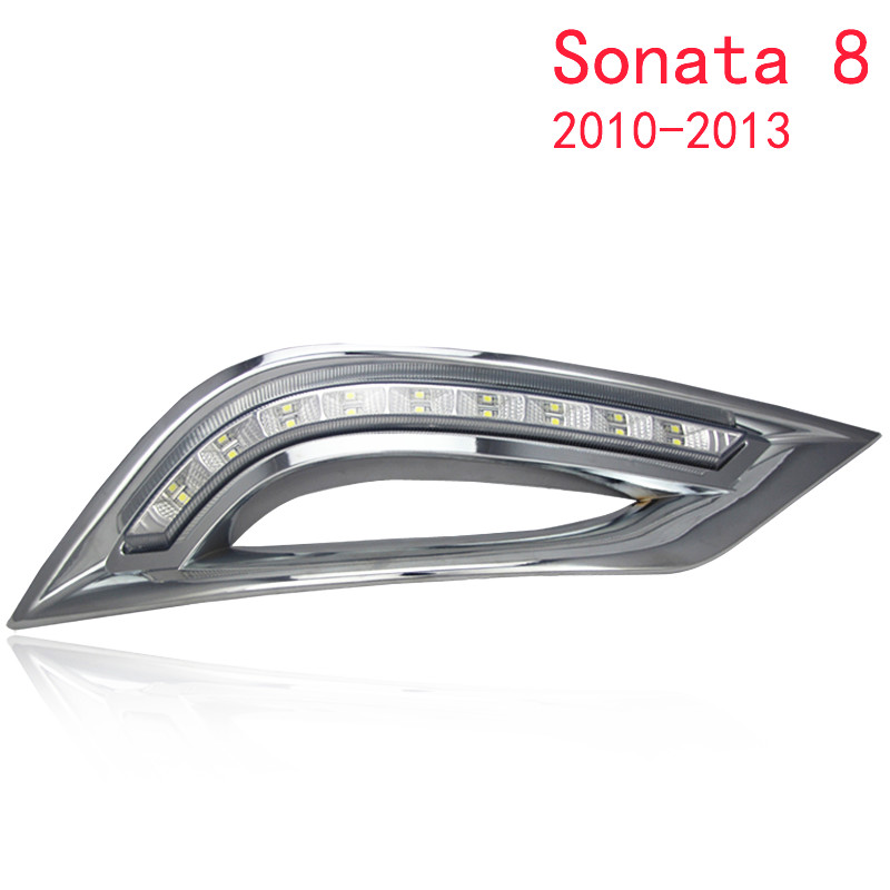 2PCs/set car styling LED Car DRL Daytime Running Lights fog lamp for Hyundai Sonata 8 2010 2011 2012 2013 hot sale abs chromed front behind fog lamp cover 2pcs set car accessories for volkswagen vw tiguan 2010 2011 2012 2013