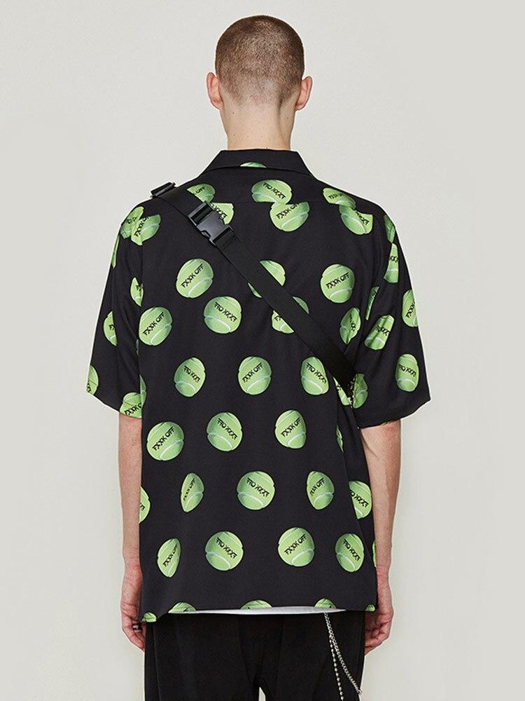 Мужская рубашка с коротким рукавом и принтом тенниса, весна лето - 4