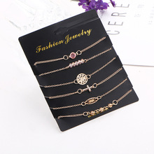 6 Pcs/ Set Cross Hollow-out Crystal bracelet rice Beads Chain Multilayer Pendant Gold Bracelet Set Charm Girl Jewelry Gift cuteeco 4 pcs set women s fashion exquisite crystal leaf geometric chain gold chain bracelet set bohemian vintage jewelry gifts