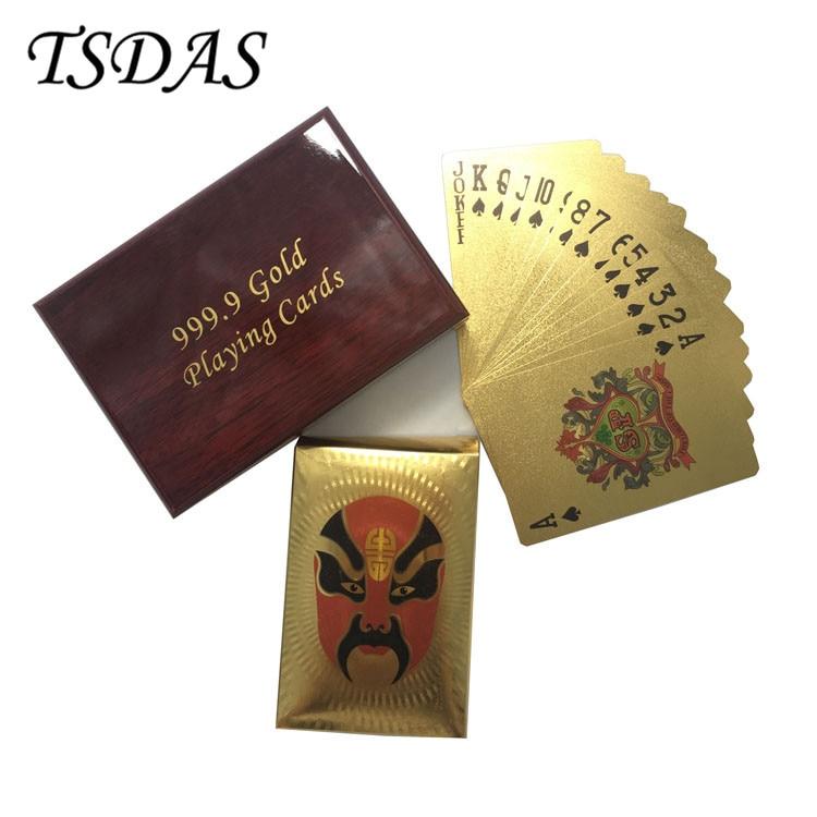 Party hry Obličejové masky Pozlacené hrací karty 54ks / sada, Plastová hrací karta s dřevěnou krabicí Doprava zdarma