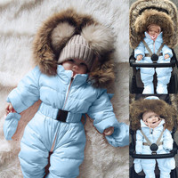 Winter Infant Baby Boy Girl Romper Jacket Hooded Warm Thick Coat Outerwear new born baby girl boy clothes