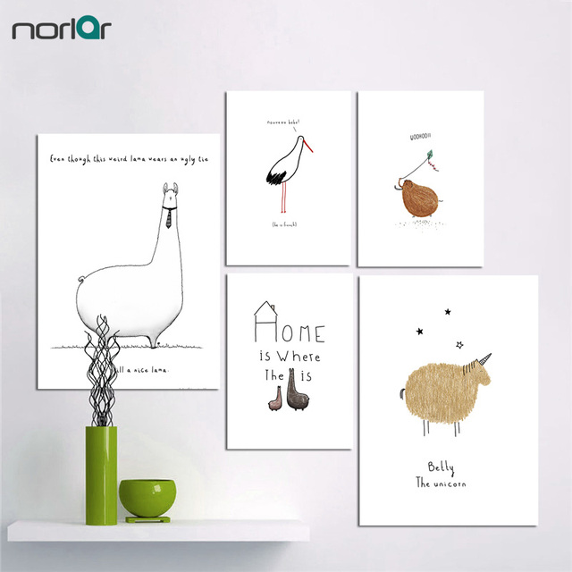 canvas painting minimalist cartoon cute small animal print canvas art posters prints wall art kids room - Kids Animal Prints