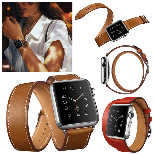 Luxury metal buckle Replacement strap For Apple watch band 42mm Link 38mm Wrist Women Men Double Tour Bracelet Leather Watchband