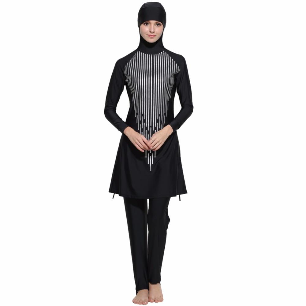 Musulman Maillots De Bain Modeste Pleine Couverture Plus La Taille Femme Maillot de Bain Maillot de bain pour les Filles Musulmanes Fil Pad Livraison S-4XL Islamique maillot de bain