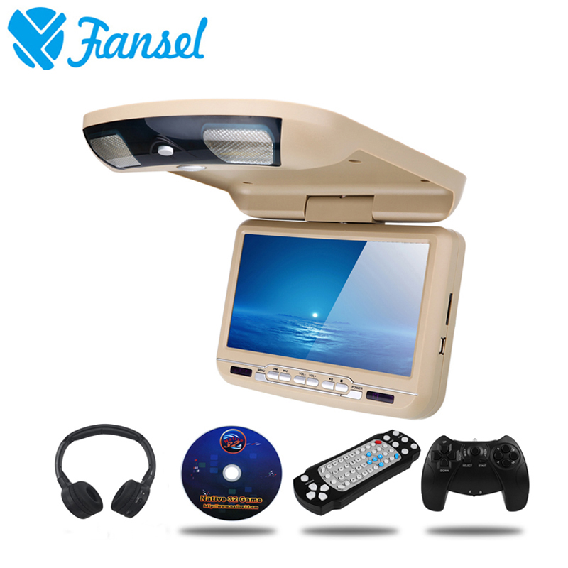 Fansel 9 Inch Car Monitor Roof Ceiling Mount Flip Down Led