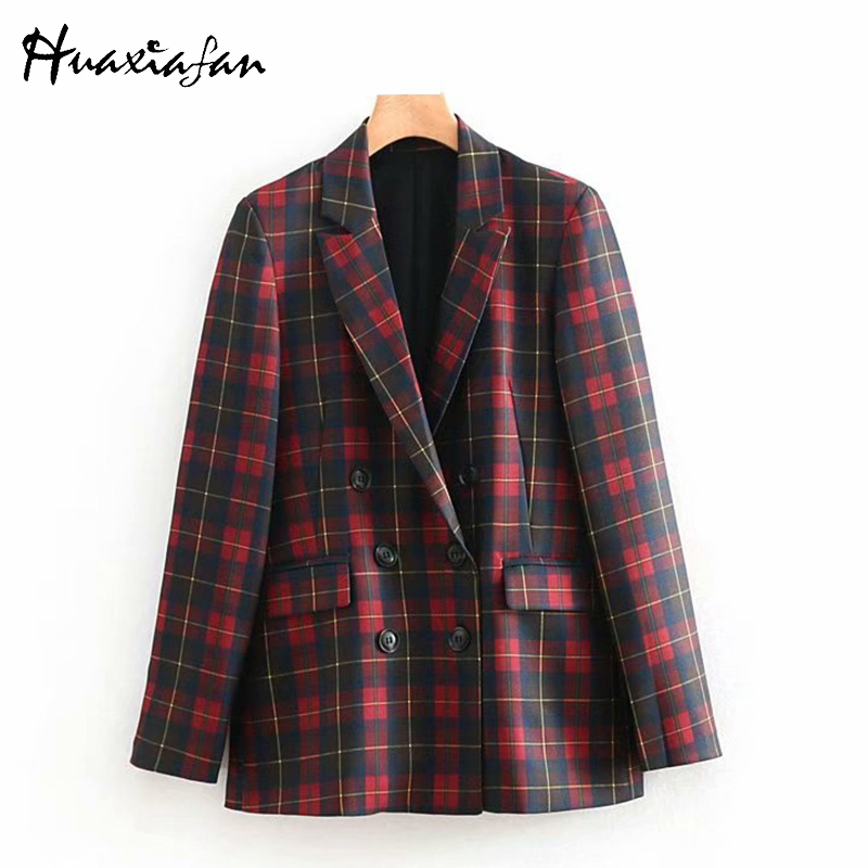 Huaxiafan Red Plaid Blazer Women Office Lady Suits Double Breasted Long Sleeves Pocket Outwear Womens Blazers And Jackets 2019