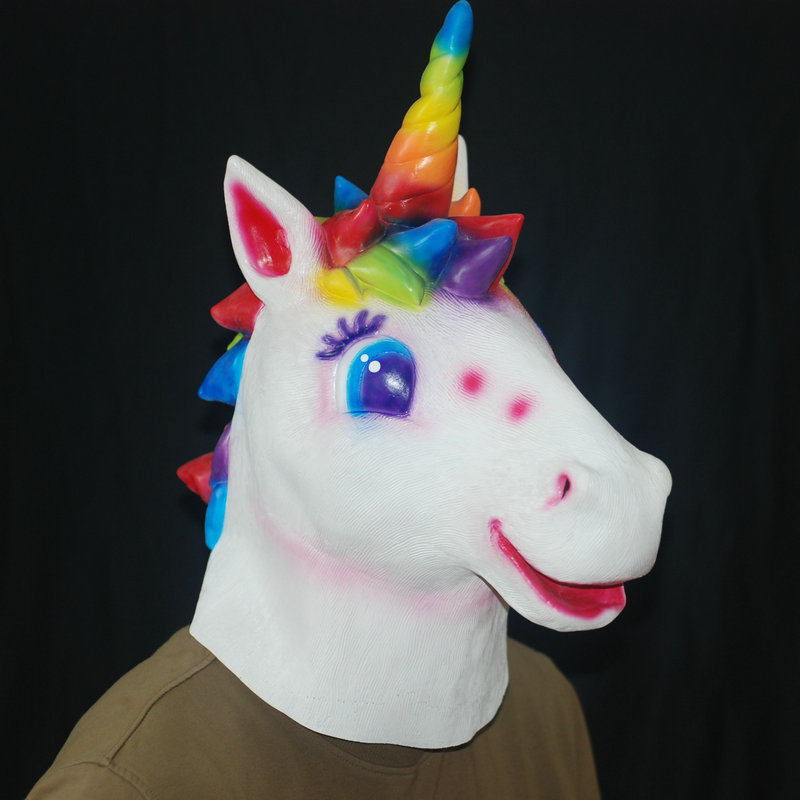 Novelty Latex Unicorn Horse Head Mask Full Face For Halloween Christmas Party New Year Cosplay