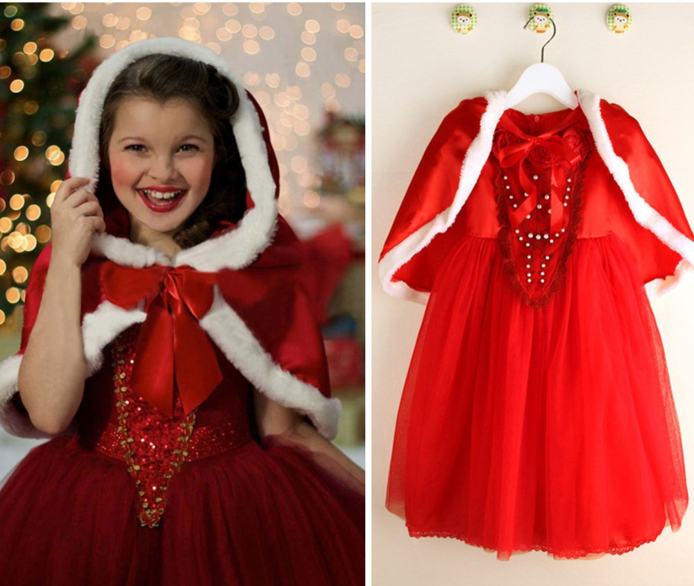 Cosplay Christmas  Cinderella Dress Uniform Hooded Princess dress for girls Child lolita Dress Red Blue Party Christmas costumes