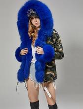 MaoMaoKong women short natural real fox fur collar winter jacket fux fur parkas fur coat