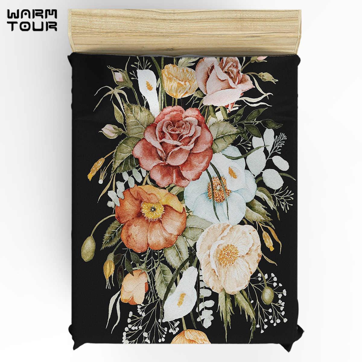 WARMTOUR Copripiumino Rose e Papaveri Bouquet su Carbone Nero Duvet Cover Set 4 Pezzi Set di Biancheria Da Letto Per Letti