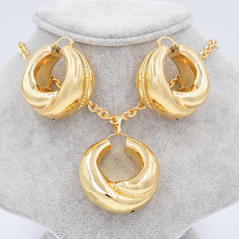 Sunny Jewelry Luxury Dubai Jewelry Sets Women's Big Hoop Earrings Pendant Copper Big Ball For Party Wedding Jewelry Findings