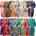 LP001 Brand New Noiva Do Casamento Da Dama de honra Robe Roupão Camisola Para As Mulheres Kimono Sleepwear Flor de Cetim Rayon Plus Size S-XXXL