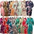 LP001 Nuevo Rayón Camisón Albornoz Bata de Satén de Novia de La Boda de dama de Honor Para Las Mujeres Del Kimono ropa de Noche de La Flor Más El Tamaño S-XXXL