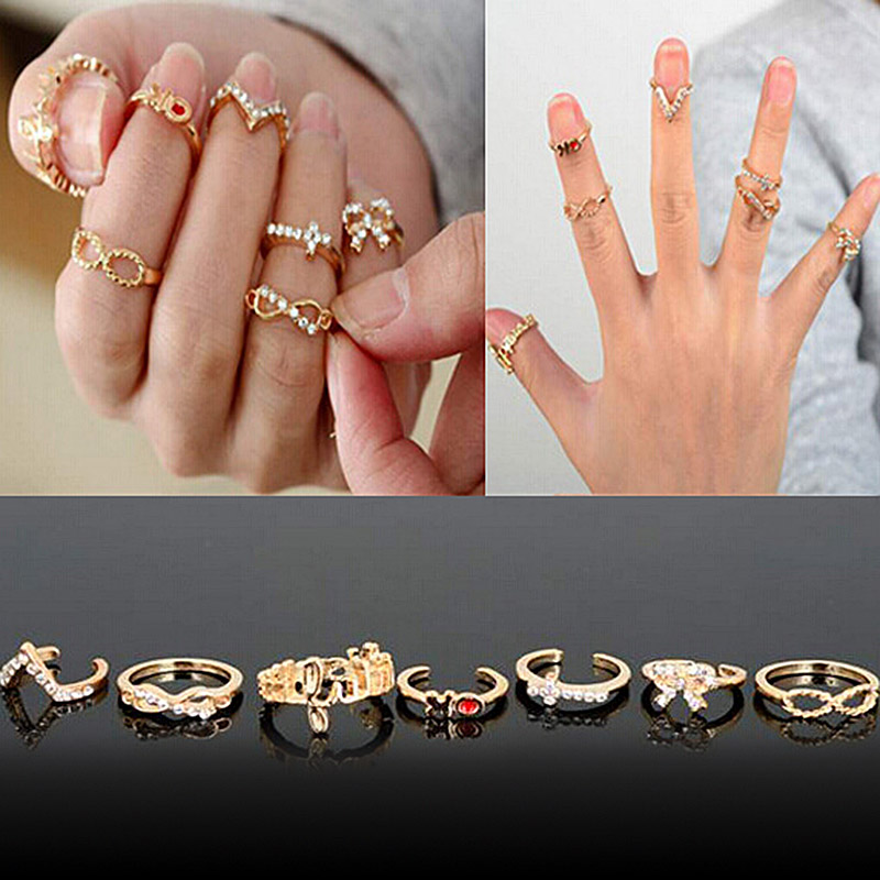 7pcs/set Fashion Stacking Midi Rings Infinite Love Design Finger ...