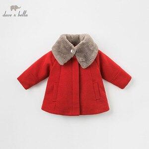 Image 2 - DB8680 dave bella baby wol jas chidlren mode jas met sjaal baby peuter boutique bovenkleding