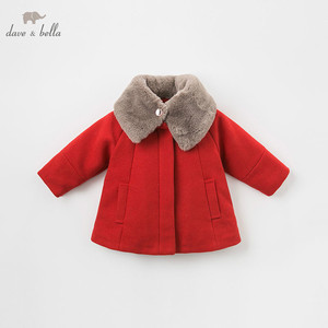 Image 2 - DB8680 dave bella baby wool jacket chidlren fashion coat with shawl infant toddler boutique outerwear