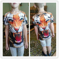 GW08 Children New 3D Animal  t shirt Tiger Print Brand Design T-Shirt Short Sleeve Cool Tops Girl Boy Cool Summer Wear Clothing
