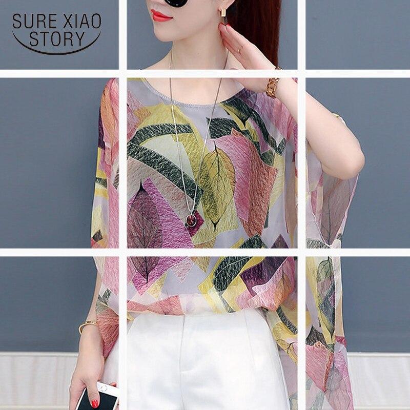 New 2018 Summer Women Blouse Shirt Fashion Women Tops Plus Size Sleeve Female Clothing Colorful Printing Chiffon Blusas D705 30