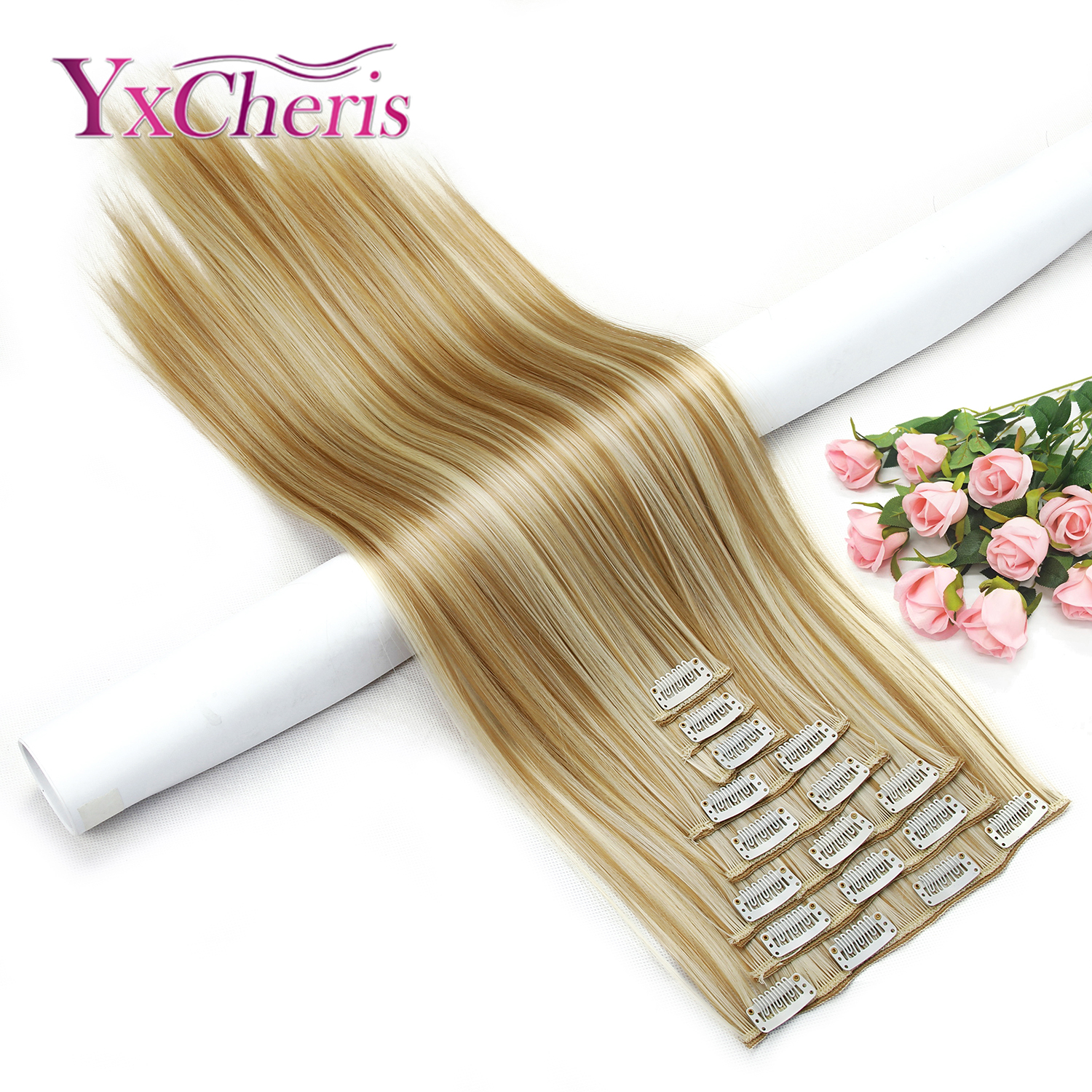 Clip In Hair Extension Synthetic Hair Pieces Heat Resistant Fiber 24inch 8pcs/set False Hair Fake