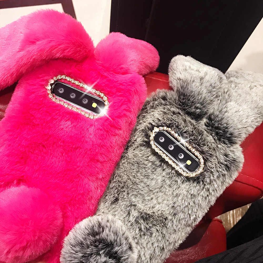 Sevimli 3D tavşan kulak kürk kış sıcak telefon kılıfı için Samsung A40 A50 A70 S10 S9 S8 artı S7 S6 parlayan elmas yumuşak kürklü arka kapak