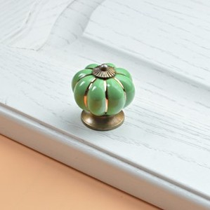 Image 5 - 10pcs 40mm Ceramic pumpkins Cabinet Knobs Furniture Handles Dresser Drawer Handles Door Knob Screw Home Decorating Cane Toppers