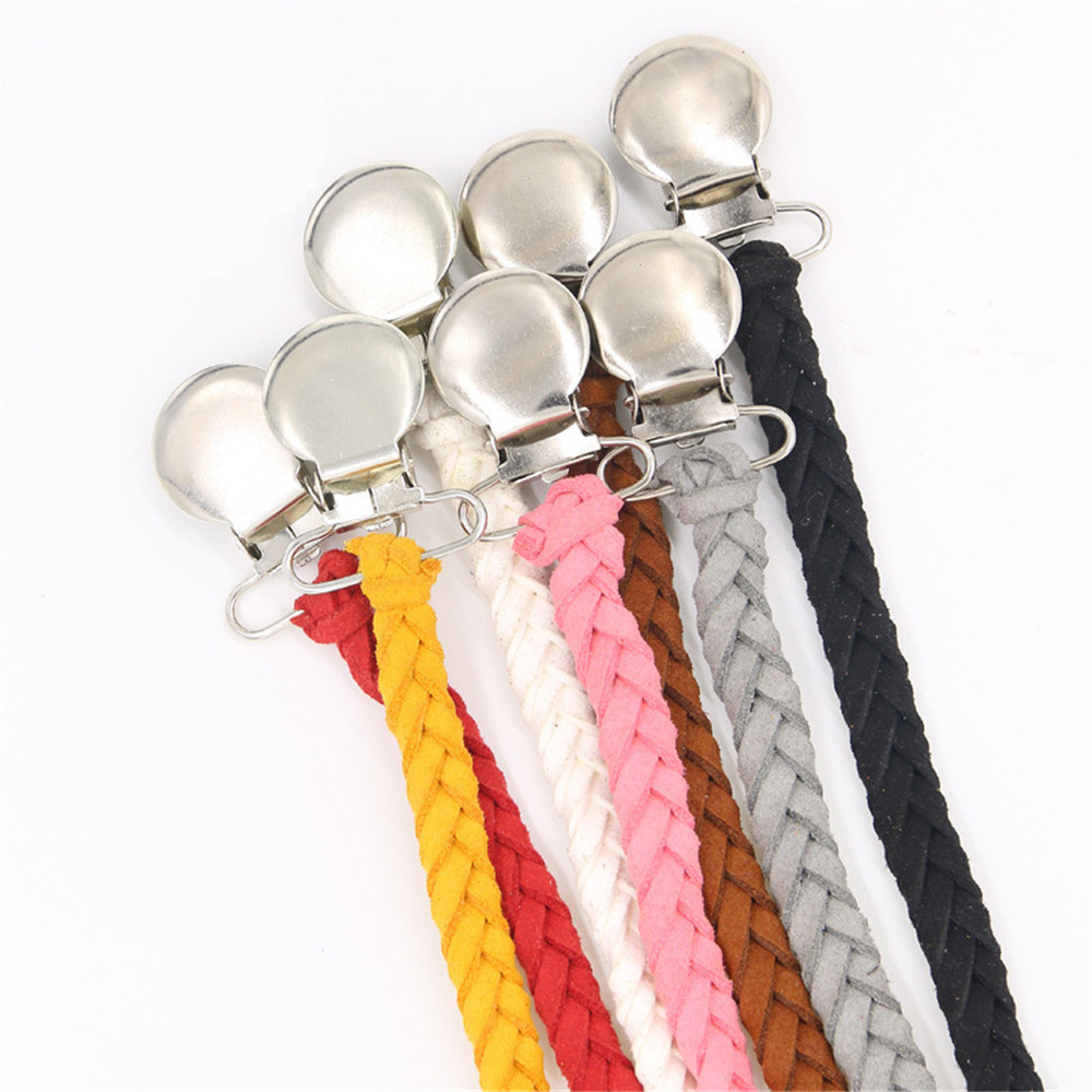купить Leather Pacifier Clips Chain Dummy Clip Pacifier Holder Braided Binky Clip Nipple Holder Soother Chain For Infant Baby Feeding по цене 93.16 рублей