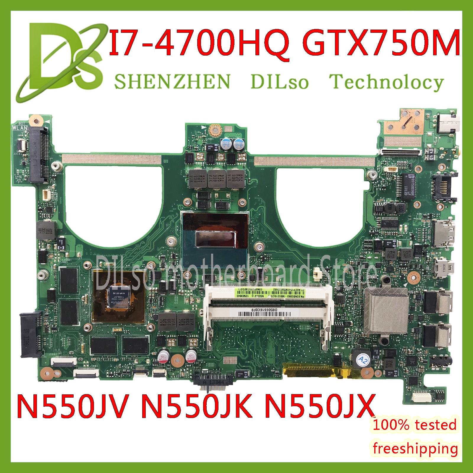 KEFU N550JV For ASUS N550jv N550JK N550J N550JX Laptop Motherboard  I7-4700HQ GTX750 4GB/2GB GPU Mainboard Test New Motherboard