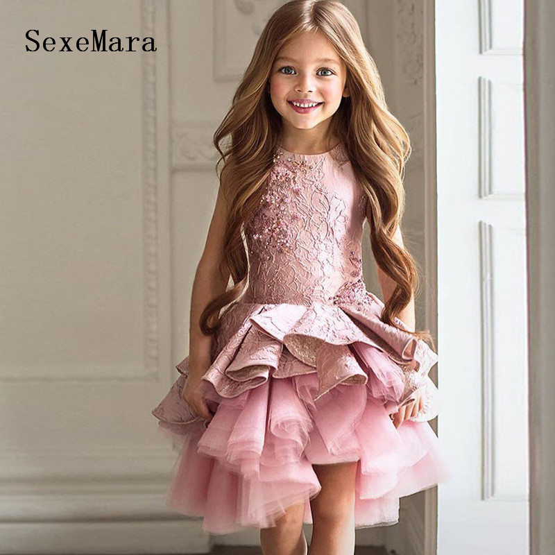 Pink Lace Beading Little Girls Birthday Party Dress Knee Length O Neck Girls Pageant Prom Dress Kids Gown for Special Occasion