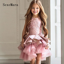 Pink Lace Beading Little Girls Birthday Party Dress Knee Length O Neck Girls Pageant Prom Dress Kids Gown for Special Occasion цена в Москве и Питере
