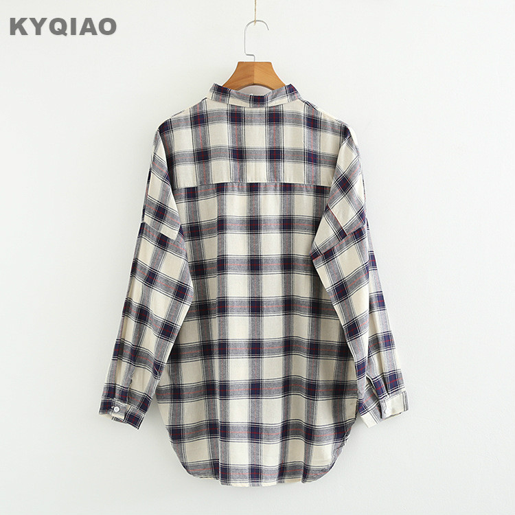 Kyqiao Women Bf Style Plaid Shirt Female Autumn Winter Japan Style Japanese Style Casual Loose Long Sleeve Plaid Blouse Blusa Women's Clothing