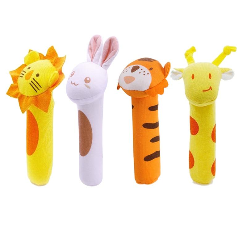 Kids Baby Funny Toys Cartoon Animal Hand Bells Plush Baby Toy Dolls Toys For Children Newbrons Animal Shaped Cartoon Rattle