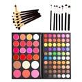 Fashion 82 Colors Concealer Cream Lip Blusher Eyeshadow Palette + 7pcs Eyeliner Eyebrow Makeup Brushes Eye Set Cosmetic kits