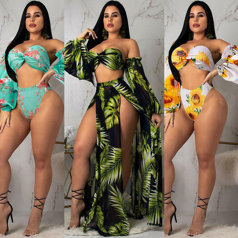 Hirigin Bikini 2019 Swimwear Women Floral Print 3PCS High Waist Push-up Padded Bra Bandage Bikini Set Swimsuit Swimwear Bathing