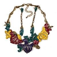 New Women Flower Fashion Jewelry Set Costume Choker Pendant Statement Necklace With Earring Set Maxi Neckalce
