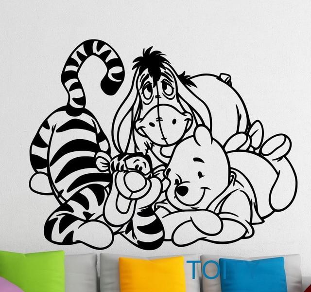 Winnie de Pooh Muurstickers Tigger Eeyore Vinyl Sticker Cartoon ...