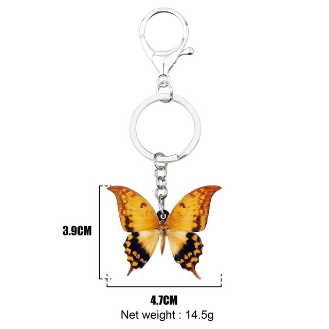 WEVENI Acrylic Yellow Papilio Butterfly Key Chains Keychain Ring Trendy Insect Jewelry For Women Girl Holder Purse Charms Gift