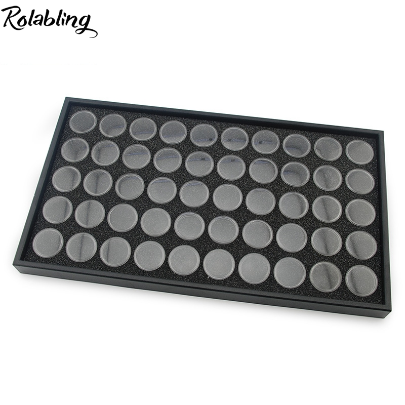 Rolabling Nail Art Display Box With 50 Pots For Show Nail Rhinestone Decoration Empty Storage Case Nail Display Manicure Tool 25pcs empty metal bobbins spool case with 25 grid storage case box for sewing machine reels home accessories