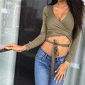 Nuevo 2016 Otoño Atractivo de Las Mujeres Bra Crop Top blusas Damas de Algodón blusa Halter Chaleco Tank Tops Manga Larga de Cuello V Camisetas W0