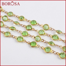 BOROSA New Gold Color 7mm Green Crystal Druzy Crystal Faceted Beads Coin Rosary Chains for Necklace Drusy Beads Chains DIY JT195 7mm amethyst pearl rosary