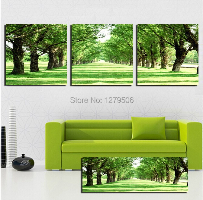 3 piece tree road Abstract oil painting Decorative Picture Living Room Paint Beautiful Superb Canvas Print Wall Art Green Tree