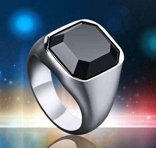Men Square Black Carnelian Semi-Precious Stone Signet Ring Silver Alloy Tone  For Male Jewelry Anillos Accessories