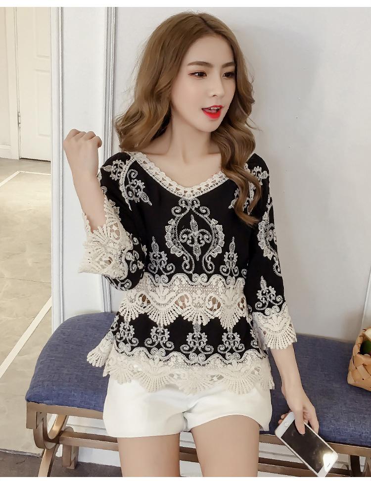9cf604a0e5e 2019 2018 Fashion Summer Tops Lace Blouse Women Shirt Plus Size Sexy ...
