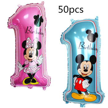 50 pcs 65*37cm mickey minnie mouse number 1 foil balloons lot helium latex  baby shower birthday party decor supplies kids toys