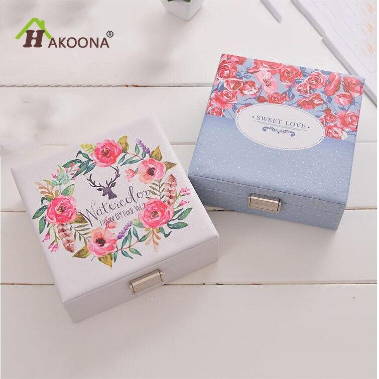 HAKOONA Boîte à Bijoux De Stockage PU Floral Imprimé Cerfs Femmes Maquillage Boîte De Rangement Reportable Voyage Étanche Boîtes En Cuir