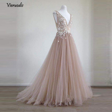 Pretty 3D Flower Long Evening Dresses 2018 Lace Blush Pink Tulle Gowns V-neck Formal Party Robe De Soiree  1
