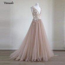 купить Pretty 3D Flower Long Evening Dresses 2018 Lace Blush Pink Tulle Evening Gowns V-neck Formal Party Dresses Robe De Soiree   1 дешево