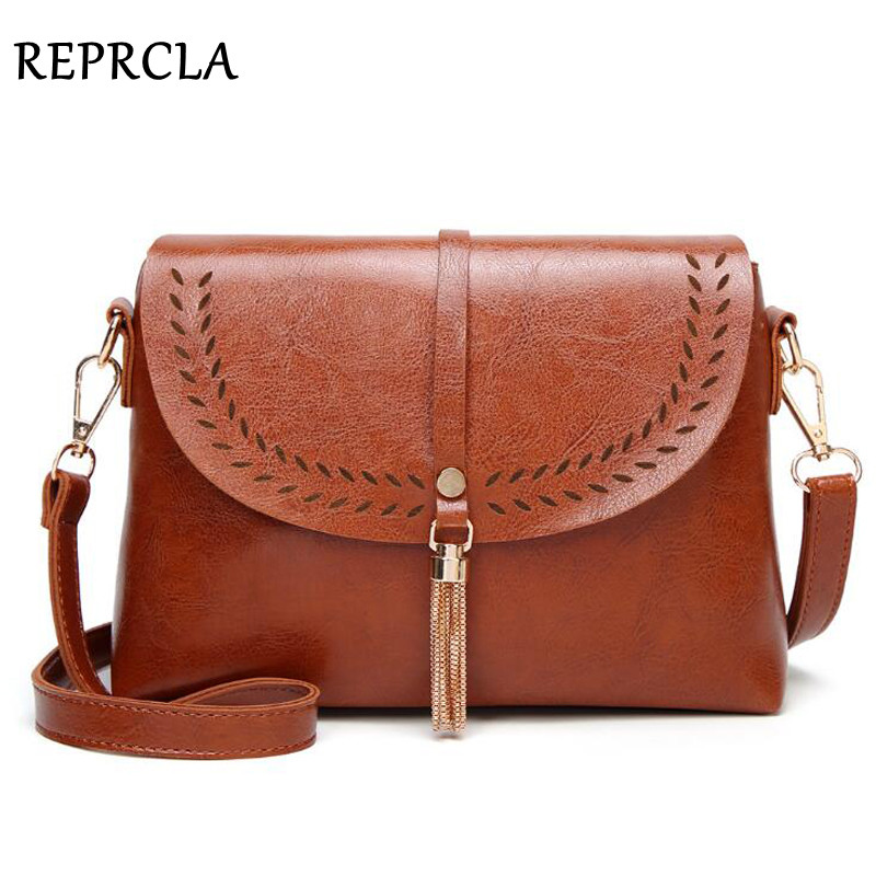 все цены на REPRCLA New Vintage Crossbody Bags High Quality PU Leather Shoulder Bag Tassel Women Messenger Bags Small Ladies Purse