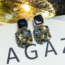 FYUAN Vintage Geometric Stud Earrings for Women Bijoux Small Square Green Crystal Earrings Statement Jewelry Gifts