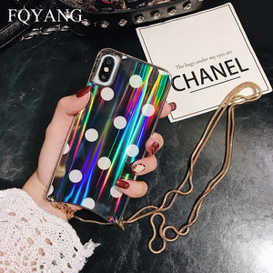 Image 3 - FQYANG Vintage Dot Case for IPHONE XS MAX XR Aurora Glass Case for Iphone 6s 7 8 Metal Lanyard Case for Iphone 7P 8P Back Cover