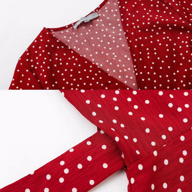 280f01d3f146 Red Polka Dot Summer Dress Short Sleeve V neck Sexy Wrap Dress ...